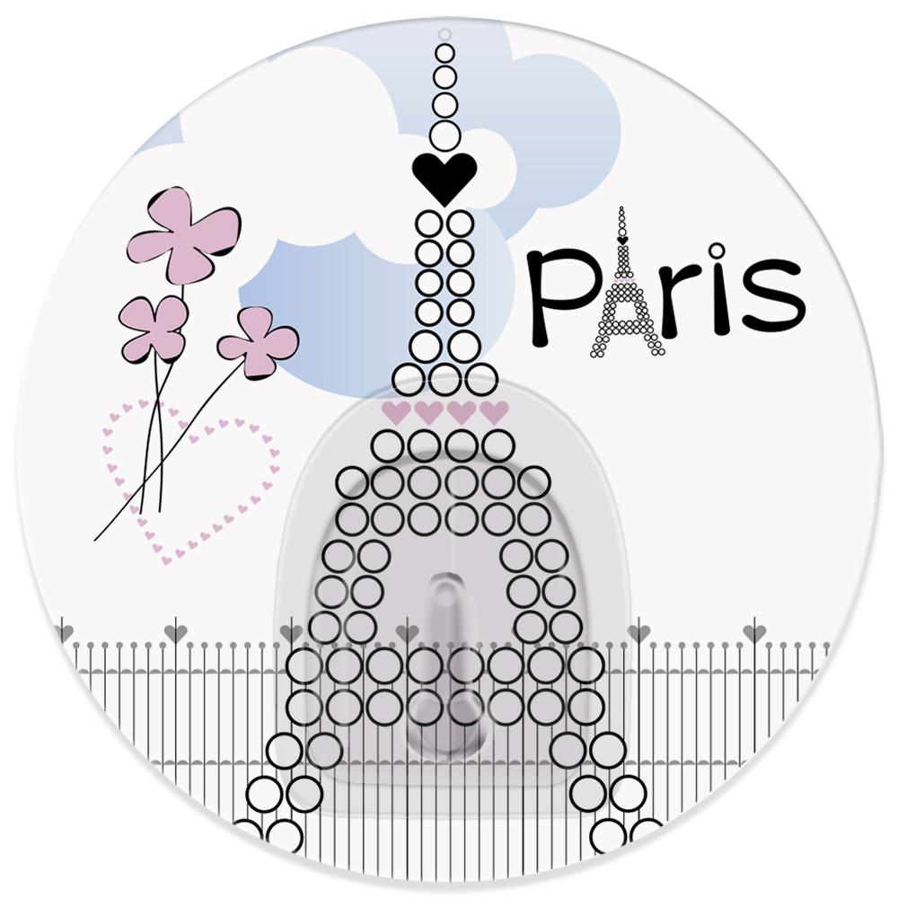 Крючок адгезивный Tatkraft Paris La Tour Eiffel18716Адгезивный крючок Tatkraft Paris La Tour Eiffel изготовлен из пластика и декорирован изображением Эйфелевой башни. Крючок может быть установлен только на ровной воздухонепроницаемой поверхности: плитка, стекло, пластик, металл, ламинированное дерево и другие. Крючок является многоразовым, что позволяет перевесить его в любое удобное место. Крючок Tatkraft Paris La Tour Eiffel имеет авторский дизайн, который украсит любой интерьер. Диаметр: 8 см. Длина крючка: 1,5 см. Максимальный вес: 3 кг.