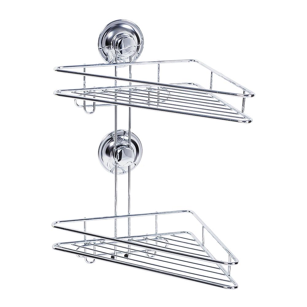 Полка двухъярусная Tatkraft Ring Lock, угловая, высота 36 см17207Угловая полка Tatkraft Ring Lock имеет два яруса и крепится к стене при помощи силиконового кольца Magic Ring. Влагостойкое кольцо крепко держит полку на ровных и не ровных (1-2 мм), воздухонепроницаемых поверхностях: стекло, глазурованная плитка, металл, пластик. Теперь, чтобы прикрепить полку к стене, не нужно делать лишних дырок. Размер полочек: 30 см х 16 см х 3,5 см. Высота полки: 36 см. Диаметр крепления: 6 см.
