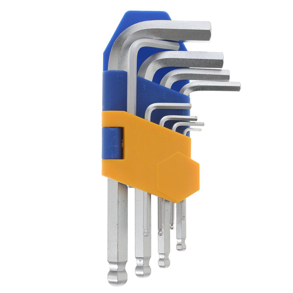 Набор ключей шестигранных Kraft Professional, коротких, с шаром, 1,5 мм - 10 мм, 9 шт98298130Набор шестигранных коротких ключей Kraft Professional предназначен для работы с крепежными элементами, имеющими внутренний шестигранник. Каждый ключ изготовлен из хромованадиевой стали и оснащен шаровым наконечником, который позволяет работать в труднодоступных местах под углом до 25 градусов. В набор входят ключи: 1,5 мм, 2 мм, 2,5 мм, 3 мм, 4 мм, 5 мм, 6 мм, 8 мм, 10 мм.
