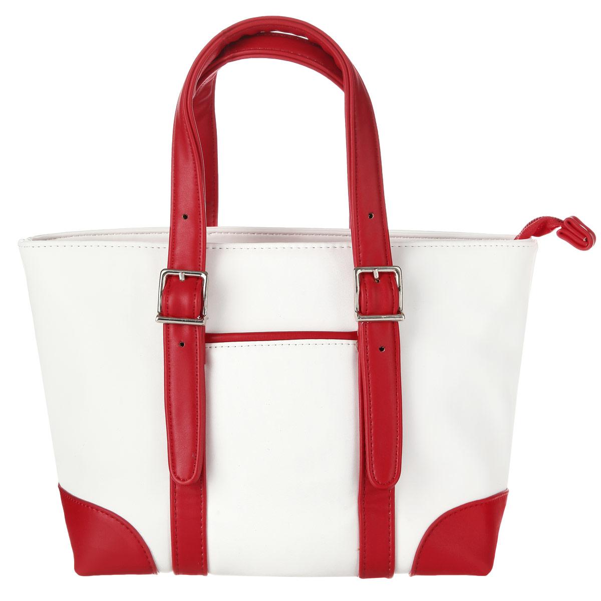 Сумка женская Leighton, цвет: белый, красный. 550265-082550265-082/101/082/22 белИзысканная женская сумка Leighton выполнена из высококачественной искусственной кожи. Сумка закрывается на застежку-молнию. Внутри одно отделение, разделенное карманом-средником на застежке-молнии, также есть два накладных кармашка для мелочей и телефона и врезной карман на застежке-молнии. Ручки сумки крепятся на металлическую фурнитуру. Внешняя сторона дополнена не большим открытым кармашком. В комплекте чехол для хранения. Яркий дизайн сумки, сочетающий классические формы с оригинальным оформлением, позволит вам подчеркнуть свою индивидуальность и сделает ваш образ изысканным и завершенным.