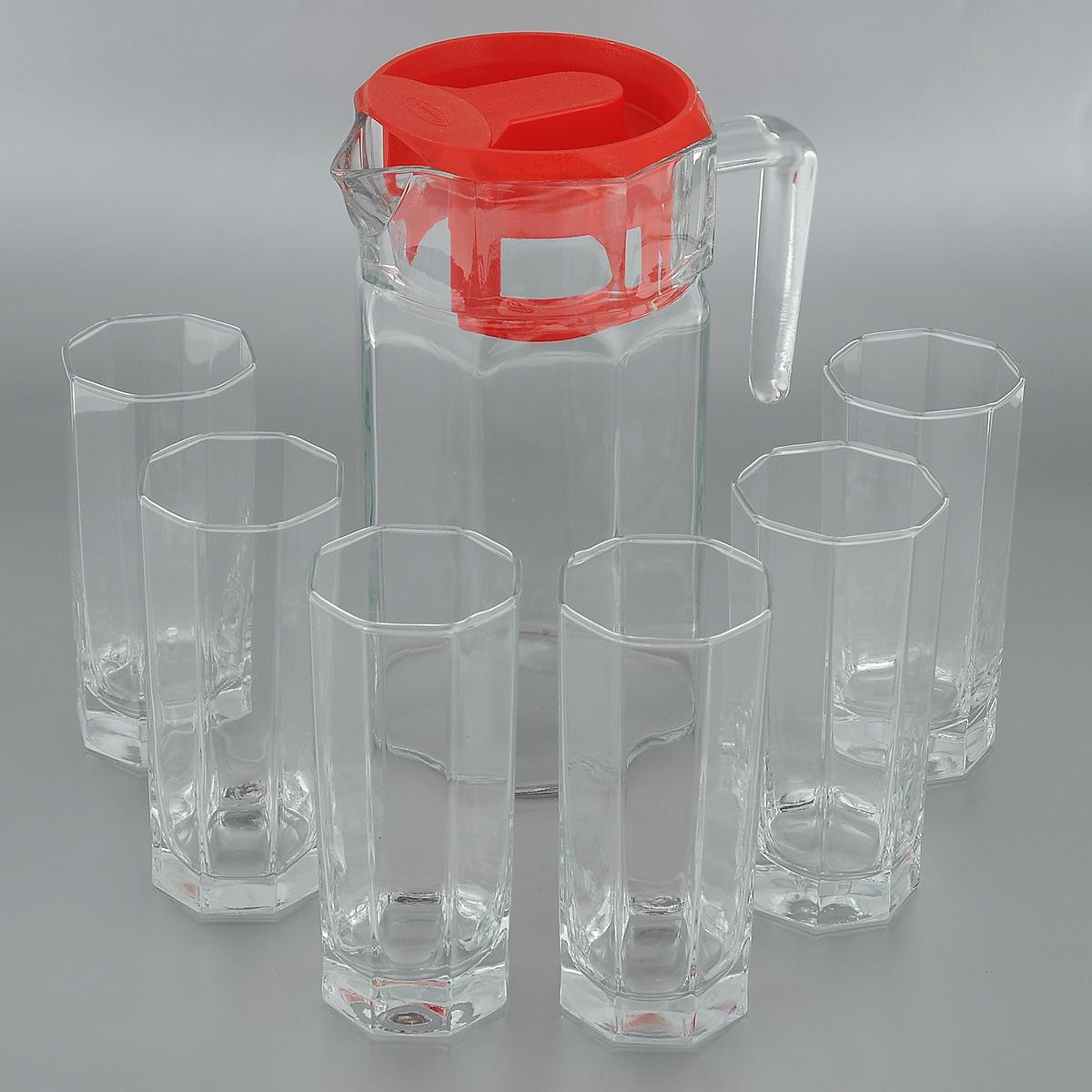 Набор для воды Pasabahce Kosem, 7 предметов97415Набор Pasabahce Kosem состоит из шести стаканов и графина, выполненных из прочного натрий-кальций-силикатного стекла. Предметы набора, оснащенные рельефной многогранной поверхностью, предназначены для воды, сока и других напитков. Графин снабжен пластиковой, плотно закрывающейся крышкой. Изделия сочетают в себе элегантный дизайн и функциональность. Благодаря такому набору пить напитки будет еще вкуснее. Набор для воды Pasabahce Kosem прекрасно оформит праздничный стол и создаст приятную атмосферу. Такой набор также станет хорошим подарком к любому случаю. Можно мыть в посудомоечной машине и использовать в микроволновой печи. Объем графина: 1,25 л. Диаметр графина (по верхнему краю): 11 см. Высота графина (без учета крышки): 21,5 см. Объем стакана: 260 мл. Диаметр стакана (по верхнему краю): 6 см. Высота стакана: 13,5 см.