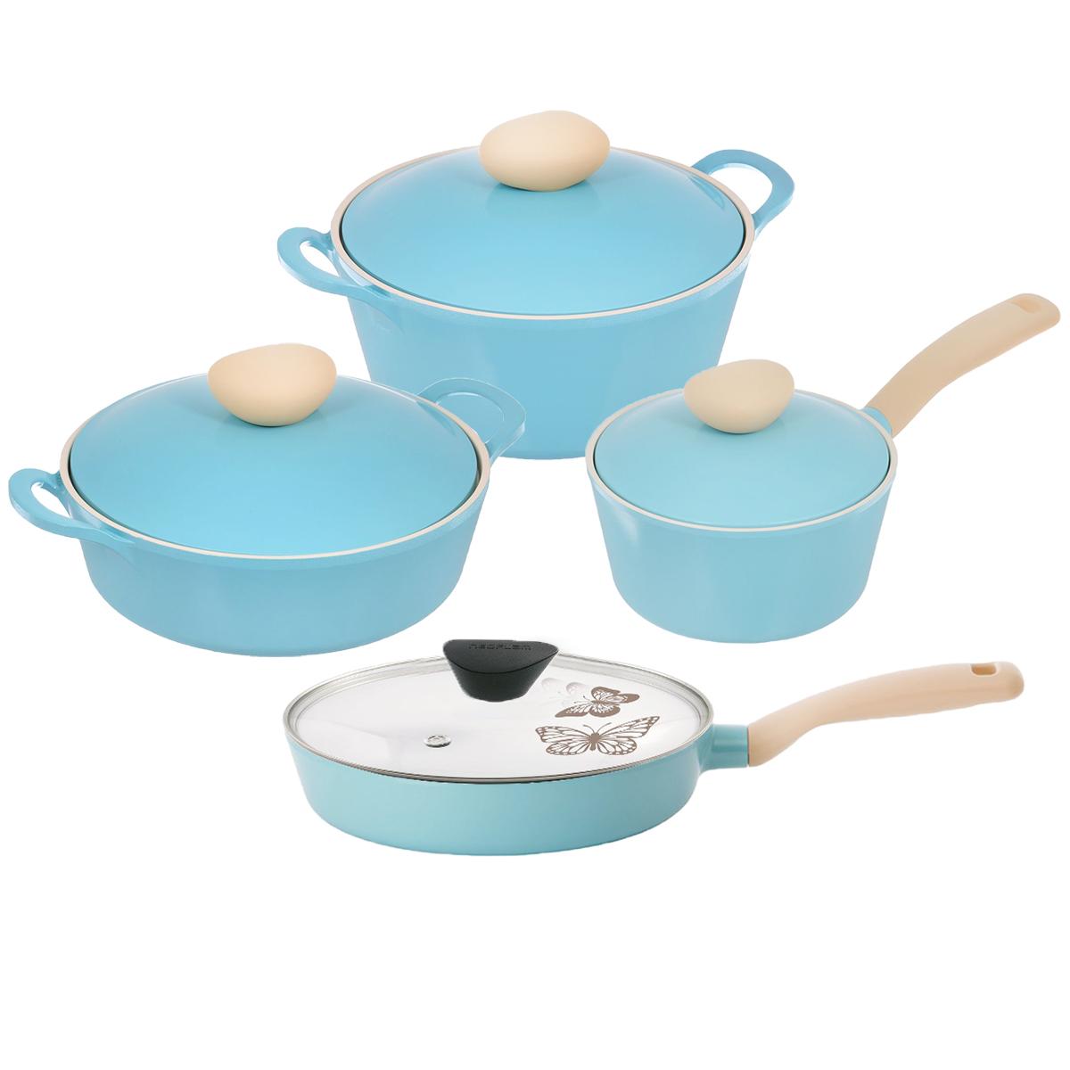 """Набор посуды Frybest """"Round"""", с керамическим покрытием, цвет: голубой, 8 предметов ROUND-N22-B"""