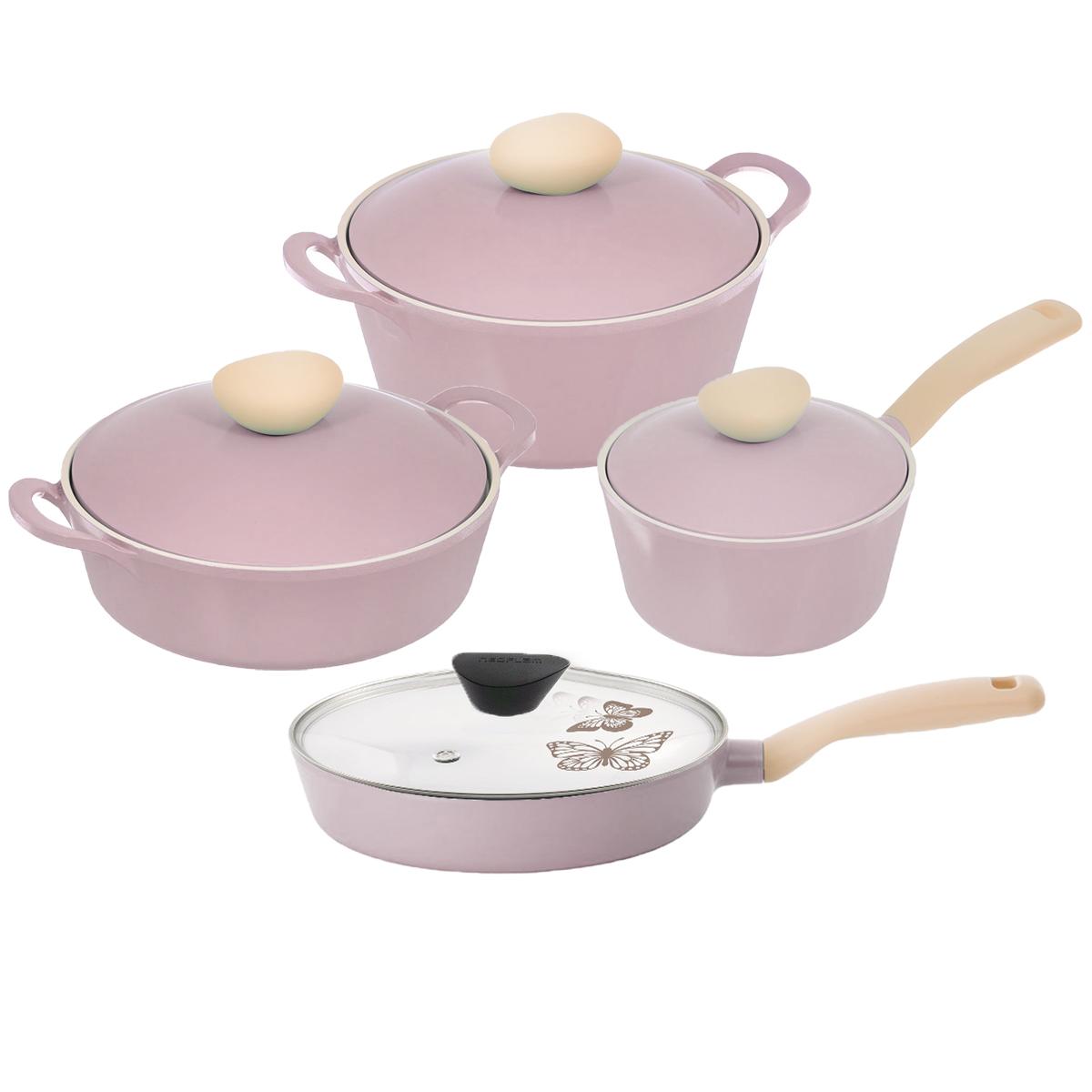 """Набор посуды Frybest """"Round"""", с керамическим покрытием, цвет: розовый, 8 предметов ROUND-N22-P"""