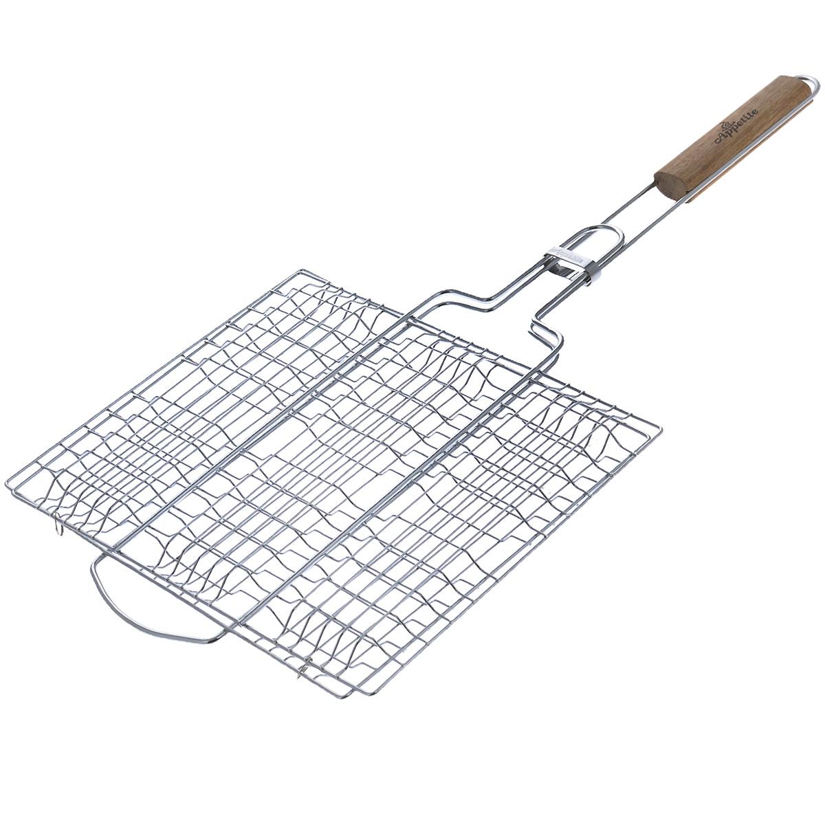 Решетка-гриль Appetite, плоская, 30 см х 25 смFC-2pРешетка-гриль Appetite изготовлена из стали с хромированным покрытием. Приготовление вкусных блюд из рыбы, мяса или птицы на пикнике становится еще более быстрым и удобным с использованием решетки-гриль. Изделие имеет деревянную вставку на ручке, предохраняющую руки от ожогов и позволяющую без труда перевернуть решетку. Надежное кольцо-фиксатор гарантирует, что решетка не откроется, и продукты не выпадут. Размер рабочей поверхности: 30 см х 25 см. Длина ручки: 32 см.