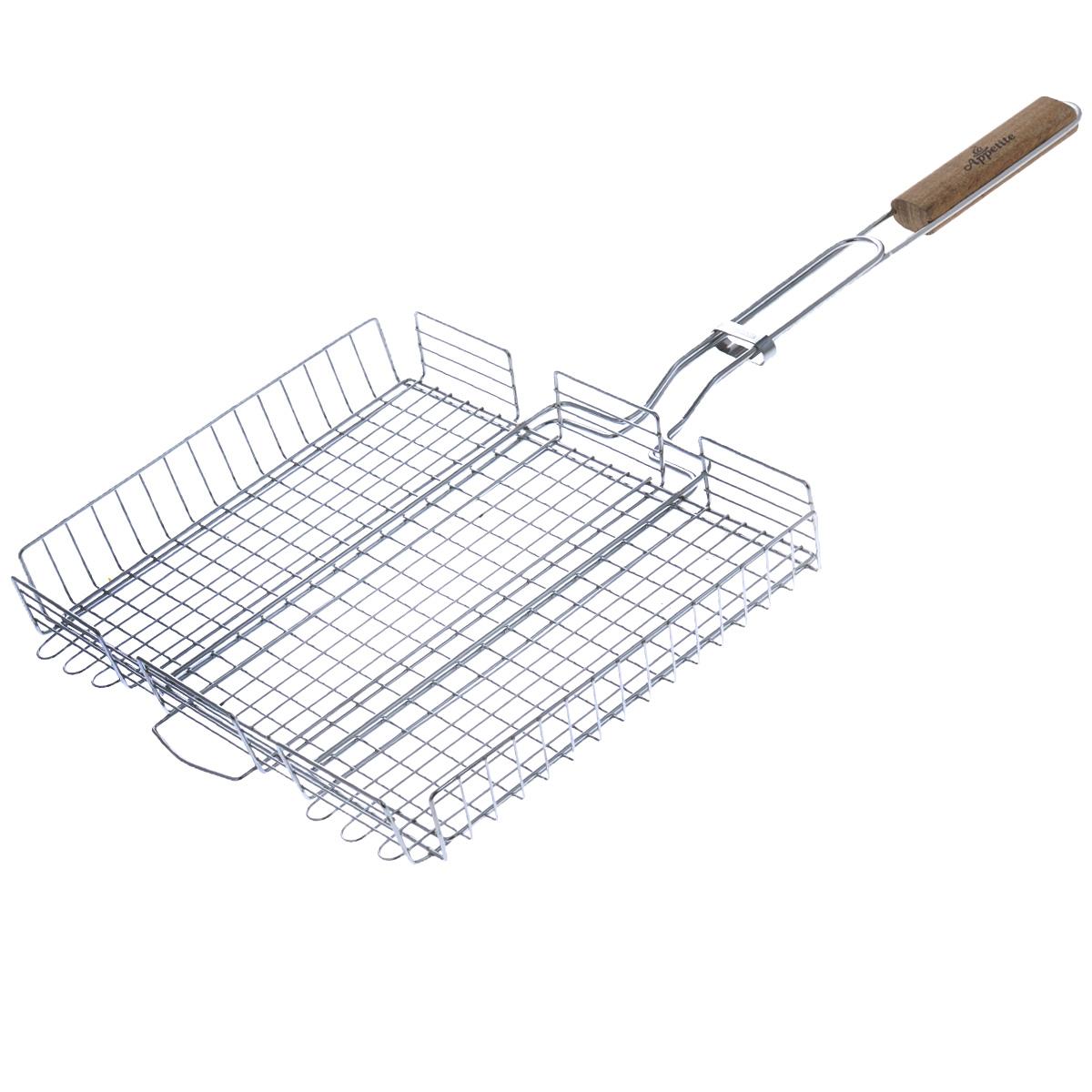 Решетка-гриль глубокая Appetite, 35 х 28,5 смFC-3Решетка-гриль Appetite изготовлена из стали с хромированным покрытием. Приготовление вкусных блюд из рыбы, мяса или птицы на пикнике становится еще более быстрым и удобным с использованием решетки-гриль. Верхняя прижимная сетка решетки регулируется по высоте и позволяет готовить продукты разной толщины. Высокие бортики не дадут упасть продуктам на угли при перевороте решетки. Решетка-гриль отлично подходит для мангала. Удобная для обхвата деревянная ручка помогает легче переворачивать решетку и делает ее использование более безопасным. Размер решетки: 35 см х 28,5 см х 4,5 см. Длина ручки: 36 см.
