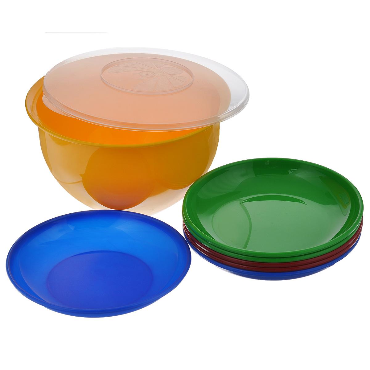 Набор посуды Solaris, 7 предметов. S1605S1605В состав набора Solaris входит 6 тарелок и большая миска с герметичной крышкой. Большую миску можно использовать как пищевой контейнер, для приготовления салата, мариновки шашлыка и т.п. Свойства посуды: Посуда из ударопрочного пищевого полипропилена предназначена для многократного использования. Легкая, прочная и износостойкая, экологически чистая, эта посуда работает в диапазоне температур от -25°С до +110°С. Можно мыть в посудомоечной машине. Эта посуда также обеспечивает: Хранение горячих и холодных пищевых продуктов; Разогрев продуктов в микроволновой печи; Приготовление пищи в микроволновой печи на пару (пароварка); Хранение продуктов в холодильной и морозильной камере; Кипячение воды с помощью электрокипятильника. Объем миски: 3 л. Диаметр миски: 22,5 см. Высота миски: 12,7 см. Диаметр тарелок: 19 см. Высота тарелок: 3 см.