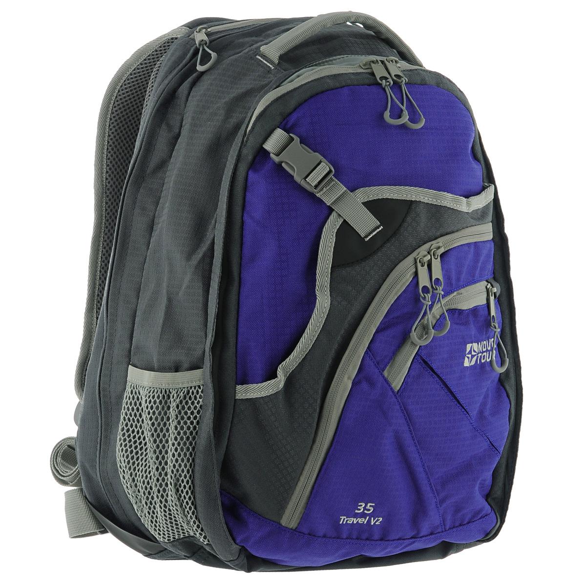 Рюкзак Nova Tour Трэвел 35 V2, цвет: серый, синий, 35 л95411-468-00Вместительный рюкзак-чемодан Nova Tour Трэвел 35 V2 позволит разместить в себе все необходимое благодаря множеству отделений и карманов. Выполнен из прочного полиэстера. Имеет 1 вместительное отделение на застежке-молнии с двумя бегунками, внутри которого расположен сетчатый карман и карман на застежке-молнии. На передней части расположен карман на пластиковой защелке и 2 кармана на застежке-молнии. Внутри одного из карманов имеется карабин для ключей. По бокам имеется 2 сетчатых кармана. Сверху расположен мягкий карман для очков. Объем может быть увеличен на 10 л за счет молнии.