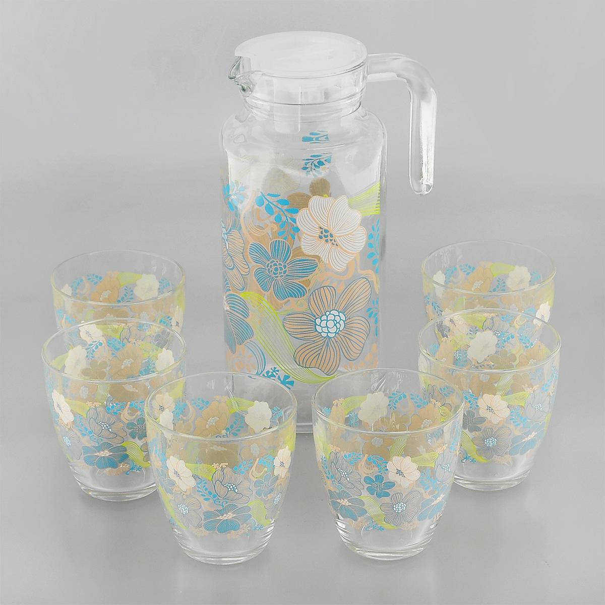 Набор для воды Pasabahce Workshop Blue Dream, 7 предметов95972BD2Набор Pasabahce Workshop Blue Dream состоит из шести стаканов и кувшина, выполненных из прочного натрий-кальций-силикатного стекла. Предметы набора, декорированные цветочным рисунком, предназначены для воды, сока и других напитков. Кувшин снабжен пластиковой, плотно закрывающейся крышкой. Изделия сочетают в себе элегантный дизайн и функциональность. Благодаря такому набору пить напитки будет еще вкуснее. Набор для воды Pasabahce Workshop Blue Dream прекрасно оформит праздничный стол и создаст приятную атмосферу. Такой набор также станет хорошим подарком к любому случаю. Можно мыть в посудомоечной машине и использовать в микроволновой печи. Объем кувшина: 1,3 л. Диаметр кувшина (по верхнему краю): 7,5 см. Высота кувшина (без учета крышки): 22,5 см. Объем стакана: 285 мл. Диаметр стакана (по верхнему краю): 8 см. Высота стакана: 9 см.