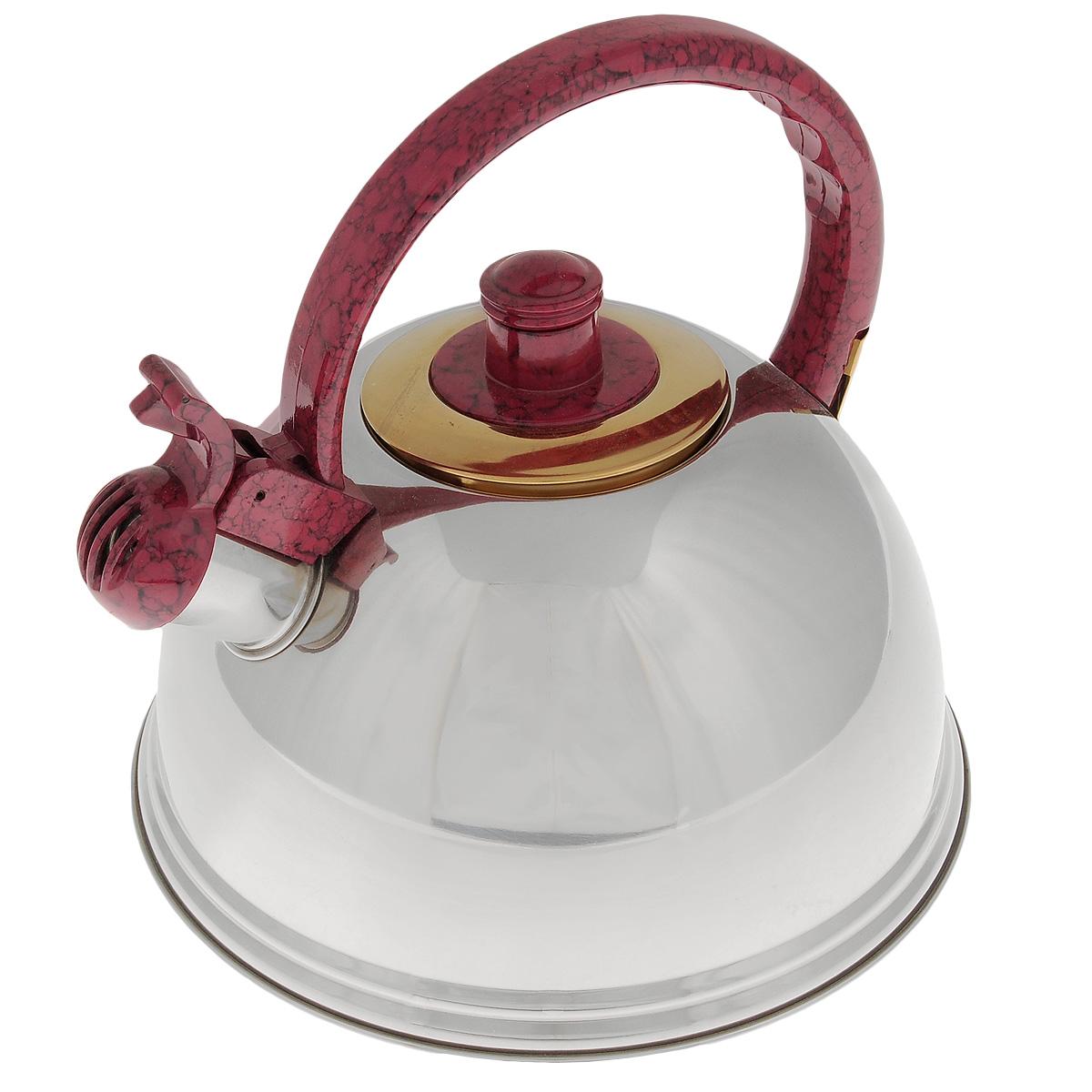 Чайник Mayer & Boch, со свистком, цвет: красный, 2,7 л. 2359423594Чайник Mayer & Boch выполнен из нержавеющей стали высокой прочности с зеркальной полировкой. Чайник оснащен откидным свистком, который громко оповестит о закипании воды. Удобная эргономичная ручка и крышка выполнены из нейлона. Такой чайник идеально впишется в интерьер любой кухни и станет замечательным подарком к любому случаю. Подходит для всех типов плит, кроме индукционных. Можно мыть в посудомоечной машине. Диаметр чайника по верхнему краю: 8,5 см. Высота чайника (с учетом ручки): 21 см.
