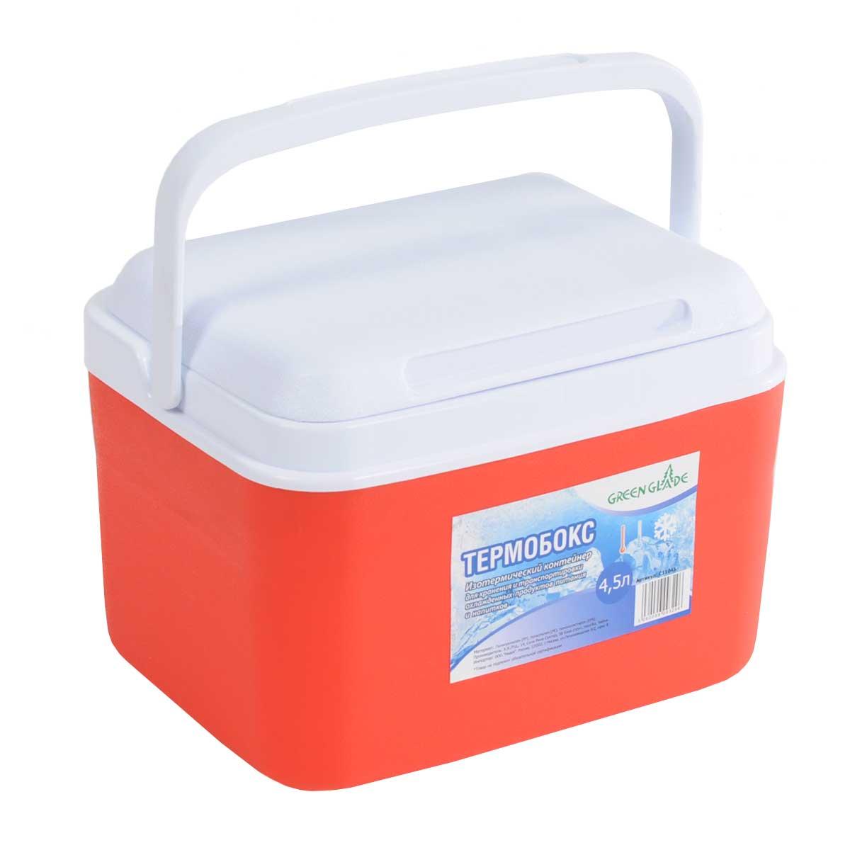 Контейнер изотермический Green Glade, цвет: красный, 4,5 лС11045Легкий и прочный изотермический контейнер Green Glade предназначен для сохранения определенной температуры продуктов во время длительных поездок. Корпус и крышка контейнера изготовлены из высококачественного полистирола. Между двойными стенками находится термоизоляционный слой, который обеспечивает сохранение температуры. При использовании аккумулятора холода, контейнер обеспечивает сохранение продуктов холодными на 8-10 часов. Подвижная ручка делает более удобной переноску контейнера. Крышка может использоваться как столик или как поднос. Объем контейнера: 4,5 л. Размер контейнера: 26 см х 19 см х 20 см.