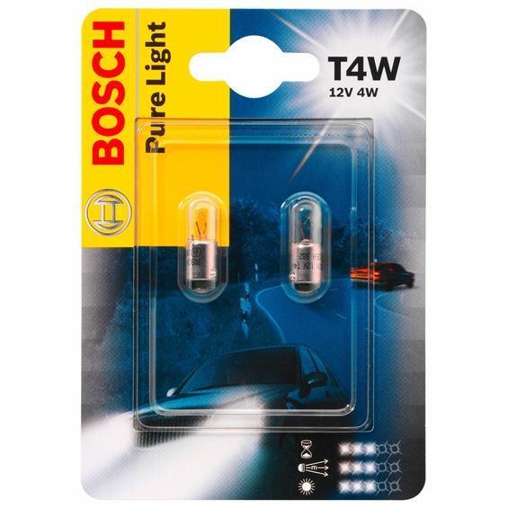 Лампа Bosch T4W 2шт 19873010231987301023Новые лампы Bosch выглядят наиболее эффектно в сочетании с фарами из прозрачного стекла и подчеркивают современный дизайн автомобилей. Основным предназначением габаритных огней является обозначение транспортного средства во время стоянки в темное время суток или в сложных погодных условиях, таких как ливень или густой туман, при этом лучше заметен сам автомобиль с фарами Bosch. Напряжение: 12 вольт