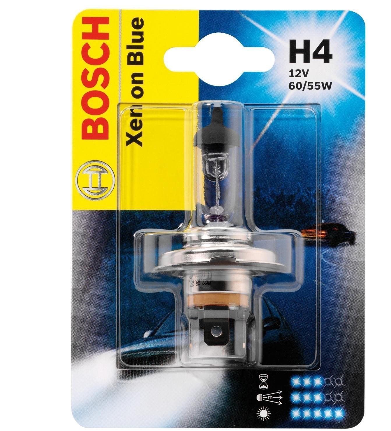 Лампа Bosch Xenon Blue H4 60/55Вт 19873010101987301010Новые лампы Bosch для галогенных фар освещают дорогу интенсивным белым светом, который очень близок по свойствам к дневному освещению.Благодаря этому глаза водителя не теряют фокусировки и меньше устают даже во время долгих поездок в темное время суток. Новые лампы отличаются высокой яркостью и могут давать до 50% больше света, чем стандартные галогенные фары. Лампы Bosch доступны в вариантах H1, H4 и H7. Серебряное покрытие ламп H4 и H7 делает их едва заметными за стеклами выключенных фар. Новые лампы выглядят наиболее эффектно в сочетании с фарами из прозрачного стекла и подчеркивают современный дизайн автомобилей. Увеличенная яркость и дальность освещения положительно сказывается на безопасности движения. В темное время суток или в сложных погодных условиях, таких как ливень или густой туман, водитель замечает опасную ситуацию намного раньше и на большем расстоянии, при этом лучше заметен и сам автомобиль с фарами Bosch. Напряжение: 12 вольт