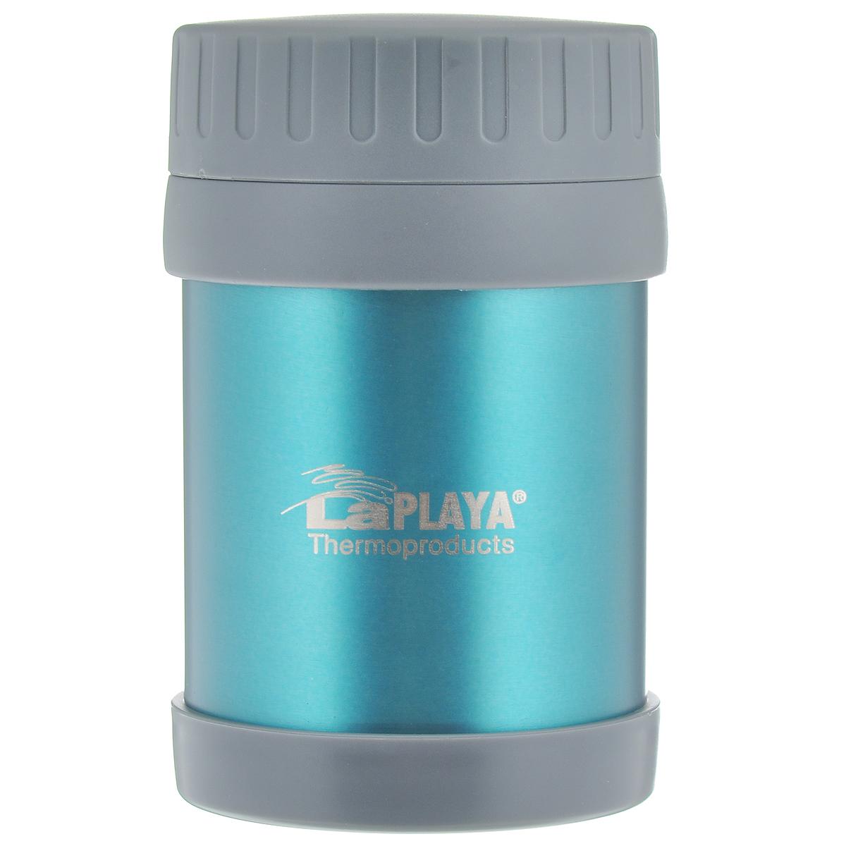 Термос для еды LaPlaya Food Container, цвет: синий, 350 мл560029Корпус термоса LaPlaya Food Container изготовлен из высококачественной нержавеющей стали с двумя стенками. Термос оснащен крышкой, благодаря которой сохраняется абсолютная герметичность. Изделие имеет большое горлышко, поэтому идеально подходит для салатов, закусок, первых и вторых блюд. Такой термос удобен в использовании и станет полезным подарком. Диаметр (по верхнему краю): 8 см. Диаметр основания: 8,5 см. Высота (с учетом крышки): 13,5 см.