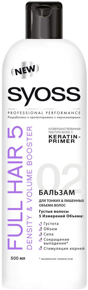 SYOSS Бальзам Full Hair 5 , 500мл9034240Первый профессиональный уход за волосами, направленный на улучшение пяти показателей здоровья волос: густоту,объем, силу, сокращение выпадения волос, вызванного их ломкостью, а также стимуляцию работы волосяных луковиц. Бережно ухаживает, придавая силу и густоту волосам Делает поверхность волоса гладкой, облегчая расчесывание Сокращает выпадение волос* и активно стимулирует корни * вызванное ломкостью