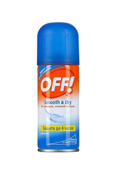 Аэрозоль от комаров OFF! Smooth & Dry, 100 мл602502Инновационный продукт OFF! Smooth & Dry создан по новой технологии, с эффектом сухого аэрозоля. Средство попадает на кожу в виде мельчайших частиц, мгновенно высыхая и не оставляя неприятных ощущений. Действие начинается сразу же после нанесения и продолжается до 4-х часов.