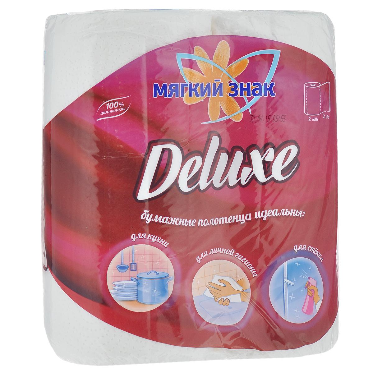 Полотенца бумажные Мягкий знак Deluxe, двухслойные, цвет: белый, 2 рулона790009Бумажные полотенца Мягкий знак Deluxe созданы из экологически чистого волокна - 100% целлюлозы. Двухслойные. Хорошо впитывают влагу и идеально подходят для ежедневного использования.Количество листов: 48 шт. Количество слоев: 2. Размер листа: 25 см х 23 см. Состав: 100% целлюлоза.