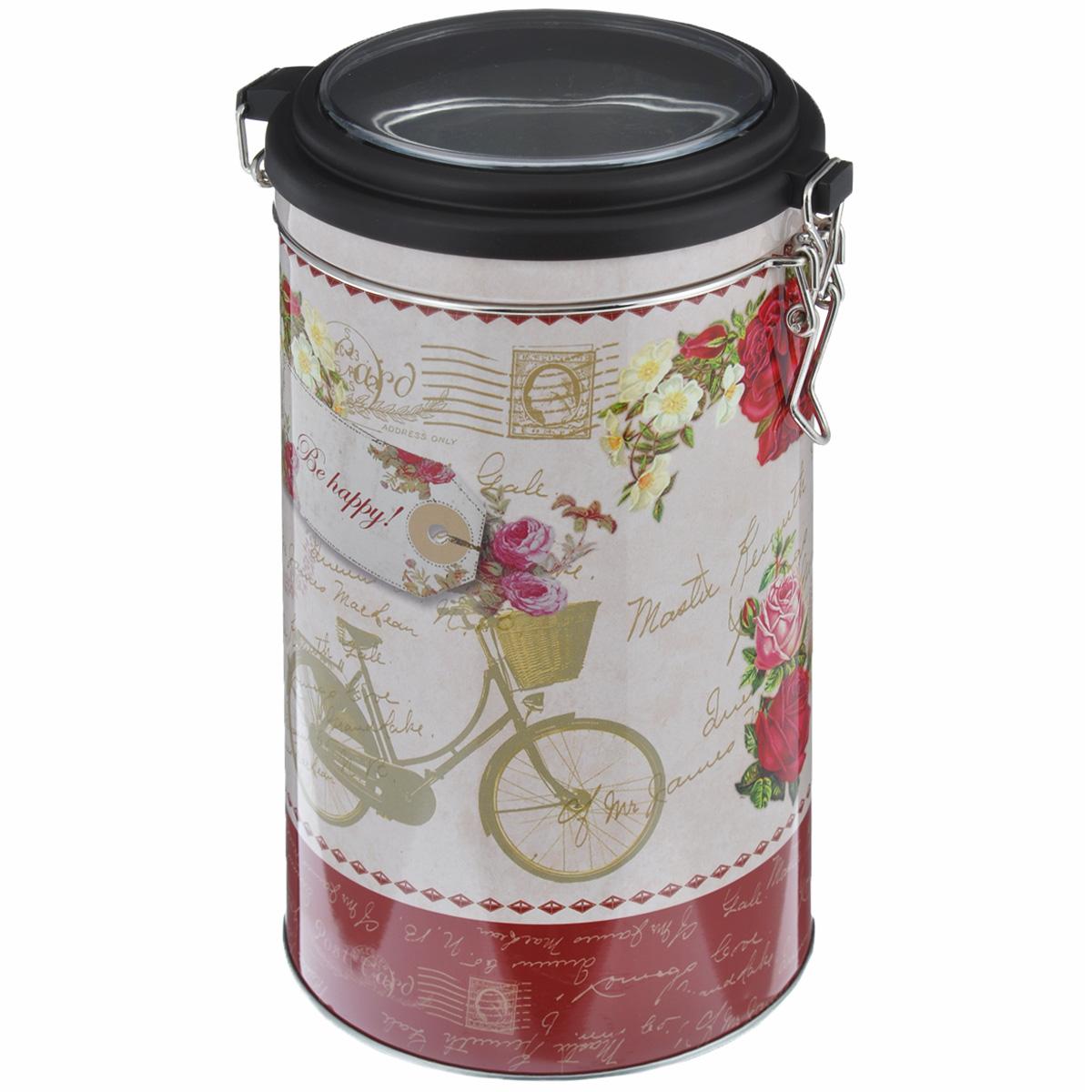 Банка для сыпучих продуктов Феникс-презент Велосипед, 1,8 л37638Банка для сыпучих продуктов Феникс-презент Велосипед, изготовленная из окрашенного черного металла, оформлена ярким рисунком. Банка прекрасно подойдет для хранения различных сыпучих продуктов: специй, чая, кофе, сахара, круп и многого другого. Емкость плотно закрывается прозрачной пластиковой крышкой на металлический замок. Благодаря этому она будет дольше сохранять свежесть ваших продуктов. Функциональная и вместительная, такая банка станет незаменимым аксессуаром на любой кухне. Нельзя мыть в посудомоечной машине. Объем банки: 1,8 л. Высота банки (без учета крышки): 17,4 см. Диаметр банки (по верхнему краю): 10,5 см.