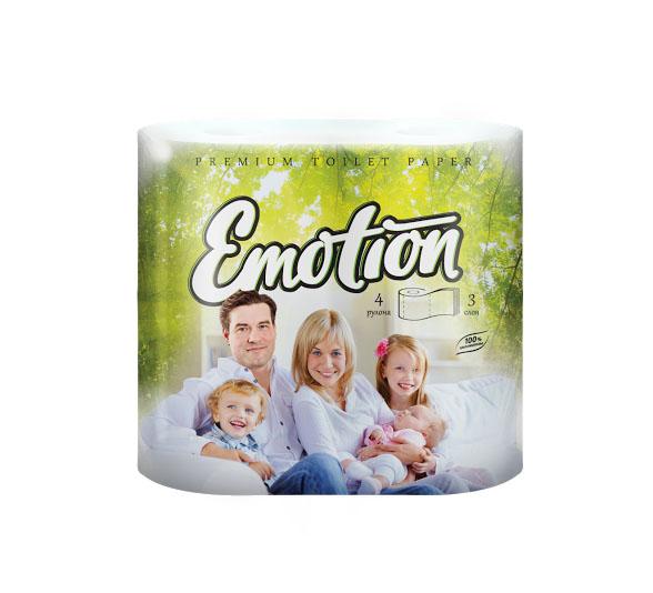 Туалетная бумага Мягкий знак Emotion, трехслойная, цвет: белый, 4 рулонаC53Туалетная бумага Мягкий знак Emotion, выполненная из натуральной целлюлозы, обеспечивает превосходный комфорт и ощущение чистоты и свежести. Необыкновенно мягкая, но в тоже время прочная, бумага не расслаивается и отрывается строго по линии перфорации. Трехслойные листы имеют рисунок с перфорацией. Количество листов: 160 шт. Количество слоев: 3. Размер листа: 12,5 см х 9,6 см. Состав: 100% целлюлоза.