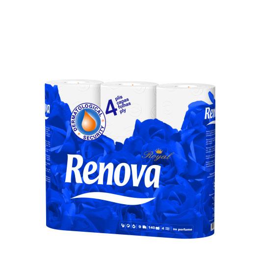 Туалетная бумага Renova Royal, четырехслойная, цвет: белый, 9 рулонов200045194Туалетная бумага Renova Royal изготовлена по новейшей технологии из 100% целлюлозы, благодаря чему она очень мягкая, нежная, но в тоже время прочная. Перфорация надежно скрепляет четыре слоя бумаги. Туалетная бумага Renova Royal не содержит ароматизаторов и красителей. Состав: 100% целлюлоза. Количество листов: 140 шт. Количество слоев: 3. Размер листа: 11,5 см х 9,5 см. Количество рулонов: 12 шт. Португальская компания Renova является ведущим разработчиком новейших технологий производства, нового стиля и направления на рынке гигиенической продукции.