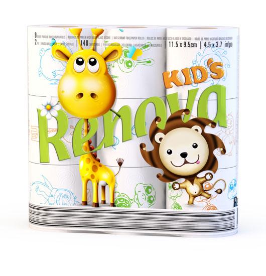 Туалетная бумага Renova Design Kids, двухслойная, цвет: белый, 9 рулонов200060831Туалетная бумага Renova Design Kids изготовлена по новейшей технологии из 100% целлюлозы, благодаря чему она очень мягкая, нежная, но в тоже время прочная. Перфорация надежно скрепляет слои бумаги. Туалетная бумага Renova Design Kids сочетает в себе простоту и оригинальность. На каждом листе туалетной бумаге разное цветное изображение забавных животных. Состав: 100% целлюлоза. Количество листов: 140 шт. Количество слоев: 2. Размер листа: 11,5 см х 9,5 см. Количество рулонов: 9 шт. Португальская компания Renova является ведущим разработчиком новейших технологий производства, нового стиля и направления на рынке гигиенической продукции. Современный дизайн и высочайшее качество, дерматологический контроль - это то, что выделяет компанию Renova среди других производителей бумажной санитарно-гигиенической продукции.