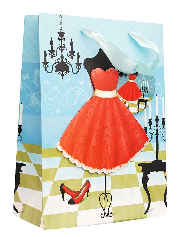 Пакет подарочный Красное платье, 18 х 8 х 24 см531-105Дизайнерский подарочный пакет Красное платье выполнен из плотной бумаги и оформлен ярким красочным рисунком и аппликацией. Дно изделия укреплено плотным картоном, который позволяет сохранить форму пакета и исключает возможность деформации дна под тяжестью подарка. Для удобной переноски на пакете имеются две атласные ручки.Подарок, преподнесенный в оригинальной упаковке, всегда будет самым эффектным и запоминающимся. Окружите близких людей вниманием и заботой, вручив презент в нарядном, праздничном оформлении.
