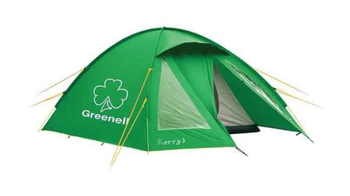 Палатка Greenell Керри 3 V3, трехместная, цвет: зеленый. 9551295512-367-00Туристическая палатка Greenell Керри 3 V3, предназначенная для троих человек, имеет сравнительно небольшой вес - менее 5 кг. В тамбуре достаточно места для хранения рюкзаков. Защиту от насекомых обеспечивает противомоскитная сетка. Сверху палатка покрыта тканью, которая защищает от ультрафиолета на 90% (UPF 50+) и препятствует распространению огня. Все швы проклеены. Наличие внешних дуг позволит сохранить внутреннюю палатку сухой при установке во время дождя. Предусмотрена возможность отдельной установки тента.