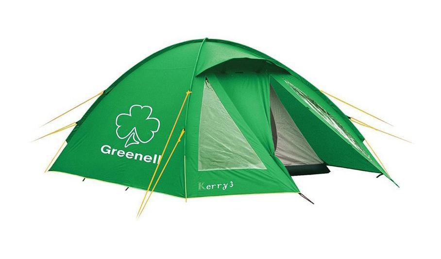 GREENELL Палатка Керри 2 V3, цвет: зеленый. Арт.95511АМNB-503Наличие внешних дуг позволяет сохранять внутреннюю палатку сухой, при установке во время дождя. Увеличенный тамбур с прозрачными окнами, противомоскитная сетка, все швы проклеены. Тент можно устанавливать отдельно. Новая верхняя ткань со специальной пропиткой защищает от ультрафиолета до 90% (UPF 50+) и препятствует распространению огня.