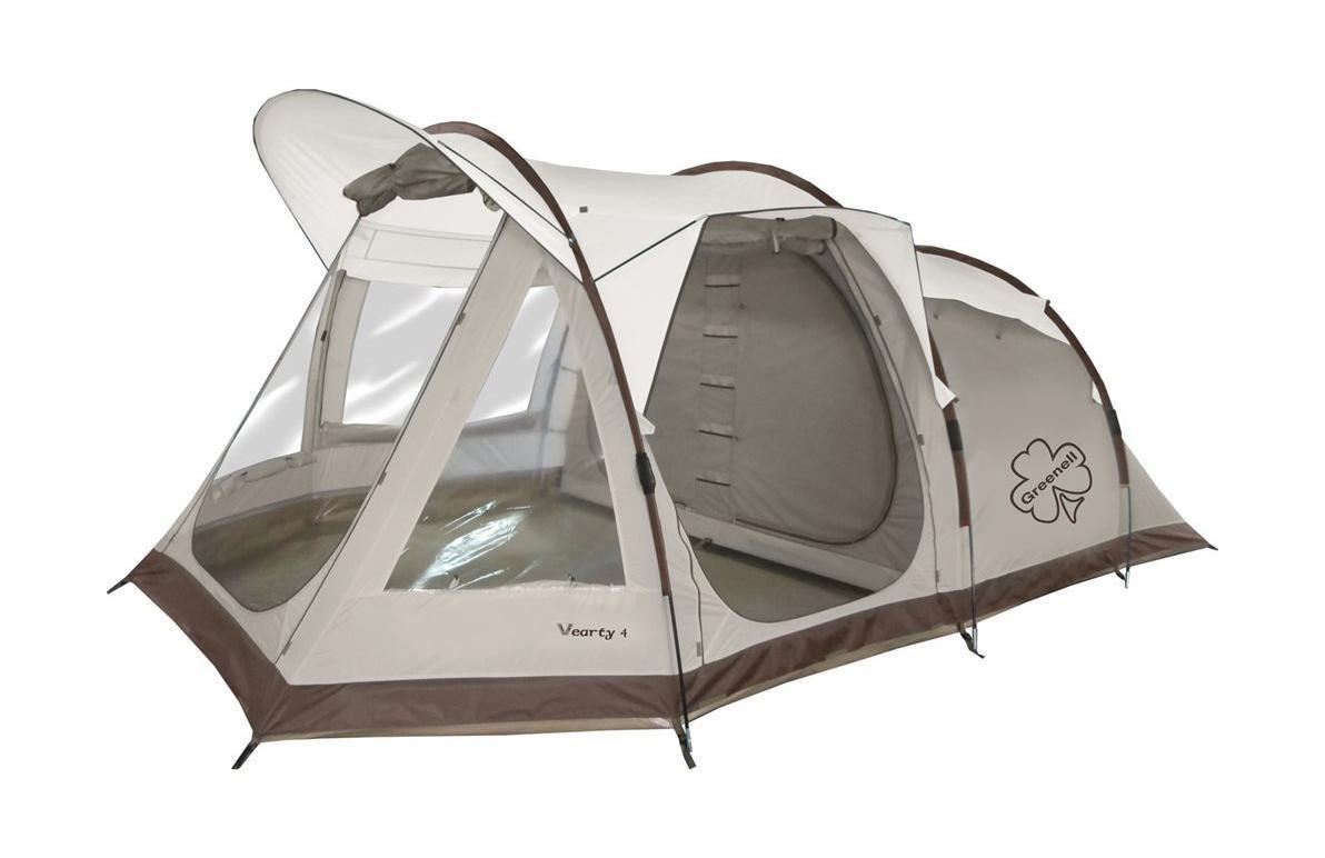 GREENELL Палатка Вэрти 4, цвет: коричневый. Арт.9547095470-230-00Четырехместная палатка, в виде полубочки, с полностью герметичным полом. Система Антимоскит. Современная конструкция с великолепным обзором и отличной вентиляцией. Два входа, два спальных отделения разделенных тканевой перегородкой. Новая верхняя ткань со специальной пропиткой защищает от ультрафиолета до 90% (UPF 50+) и препятствует распространению огня.
