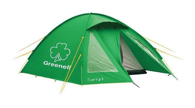 GREENELL Палатка Керри 4 V3, цвет: зеленый. Арт.9551395513-367-00Оптимальное соотношение вес/комфорт/цена. Наличие внешних дуг позволит сохранить внутреннюю палатку сухой, при установке во время дождя. Увеличенный тамбур с прозрачными окнами, противомоскитная сетка, все швы проклеены. Возможна отдельная установка тента. Новая верхняя ткань со специальной пропиткой защищает от ультрафиолета до 90% (UPF 50+) и препятствует распространению огня.