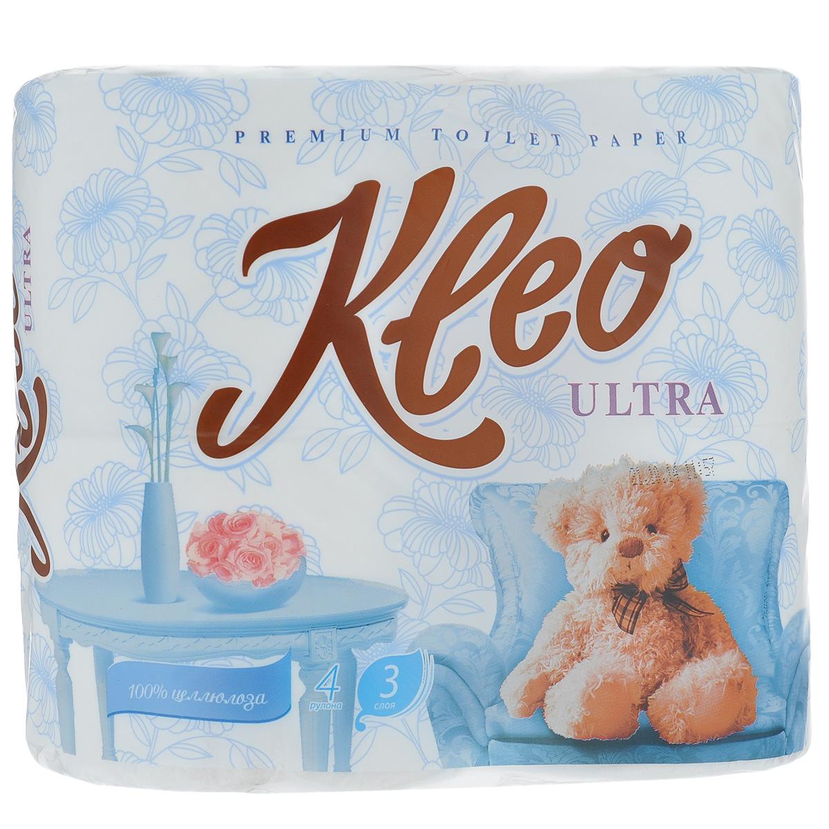 Туалетная бумага Kleo Ultra, трехслойная, цвет: белый, 4 рулонаC86Туалетная бумага Kleo Ultra, выполненная из натуральной целлюлозы, обеспечивает превосходный комфорт и ощущение чистоты и свежести. Необыкновенно мягкая, но в тоже время прочная, бумага не расслаивается и отрывается строго по линии перфорации. Трехслойные листы имеют рисунок с перфорацией. Количество листов: 168 шт. Количество слоев: 3. Размер листа: 12,5 см х 9,6 см. Состав: 100% целлюлоза.