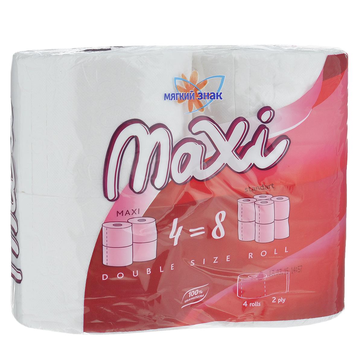 Туалетная бумага Мягкий знак Maxi, двухслойная, цвет: белый, 4 рулонаC118Туалетная бумага Мягкий знак Maxi, выполненная из натуральной целлюлозы, обеспечивает превосходный комфорт и ощущение чистоты и свежести. Необыкновенно мягкая, но в тоже время прочная, бумага не расслаивается и отрывается строго по линии перфорации. Один рулон туалетной бумаги Мягкий знак Maxi равен двум стандартным рулонам. Количество листов: 320 шт. Количество слоев: 2. Размер листа: 12,5 см х 9,6 см. Состав: 100% целлюлоза.