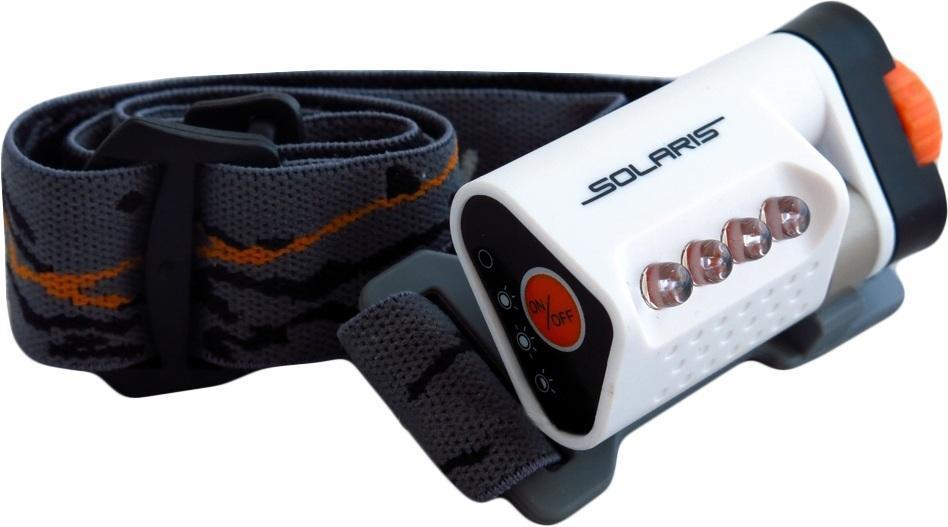 Фонарь светодиодный Solaris L40, налобный, цвет: белыйa026124Высококачественный налобный светодиодный фонарь Solaris L40 - Hi-Tech, сверхкомпактный, с сенсорным управлением.Корпус фонаря выполнен из противоударного ABS пластика.Водозащищенный — стандарт IPX6.Особенности:- фонарь снабжен 4-мя современным светодиодами NICHIA (Япония), с большой светоотдачей. Фонарь не имеет встроенного отражателя, светодиоды вынесены на переднюю поверхность фонаря. Благодаря этому достигается очень широкий угол рассеивания света и достаточная яркость. Очень удобен для работы на ближней дистанции.- фонарь легко установить основанием на ровную поверхность (можно снять оголовный ремень) и использовать в режиме кемпинговой лампы. Очень удобный режим в палатке, темном коридоре, дачной беседке и т.п. - фонарь управляется сенсорной кнопкой на боковой поверхности фонаря, что позволяет включать/выключать фонарь и переключать режимы работы легким прикосновением. Быстрота и легкость управления светом фонаря. Фонарь крепится к оголовному ремню с помощью кольцеобразного шарнира для регулировки по вертикальной оси. Крышка батарейного отсека запирается на винт, благодаря чему достигается водонепроницаемость. Встроенный стабилизатор напряжения.Комплектация:- Фонарь - 2 батарейки ААА Мощность светового потока: 20 люмен. Дальность эффективного излучения света: 20 метров.