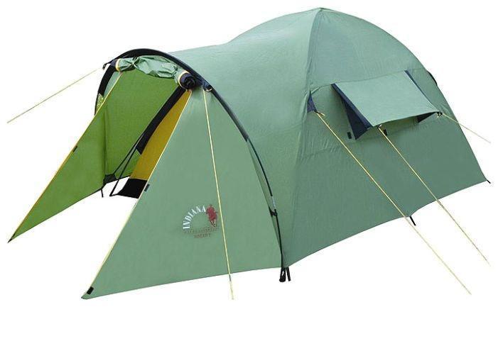 Палатка INDIANA HOGAR 4GESS-725Данная модель туристической палатки стала частым выбором среди любителей кемпинга и походов по средней полосе России. Конфигурация, прочностные характеристики, защита от влаги и солнца, - полностью соответствуют различным погодным условиям.Палатка имеет очень маленький вес, поэтому в сложенном виде ее без проблем можно переносить даже во время длительного походаЛюбители велосипедных прогулок также по достоинству смогут оценить данную модель, ведь при путешествии на велосипеде значительную роль играет вес инвентаря.
