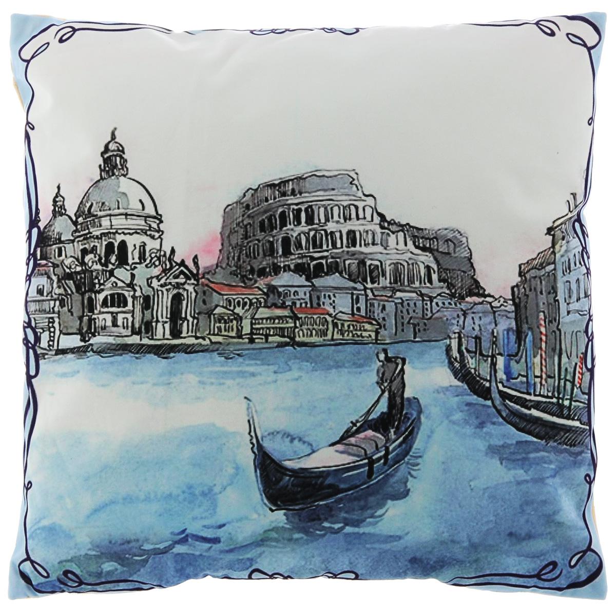 Подушка декоративная Феникс-презент Венеция, 45 х 45 см37393Декоративная подушка Феникс-презент Венеция прекрасно дополнит интерьер спальни или гостиной. Чехол подушки выполнен из полиэстера. Лицевая сторона украшена фотопечатью с изображением венецианского канала. Оборотная сторона - бежевого цвета. Внутри - мягкий наполнитель из синтетического хлопка. Чехол легко снимается благодаря потайной молнии. Красивая подушка создаст атмосферу уюта в доме и станет прекрасным элементом декора.
