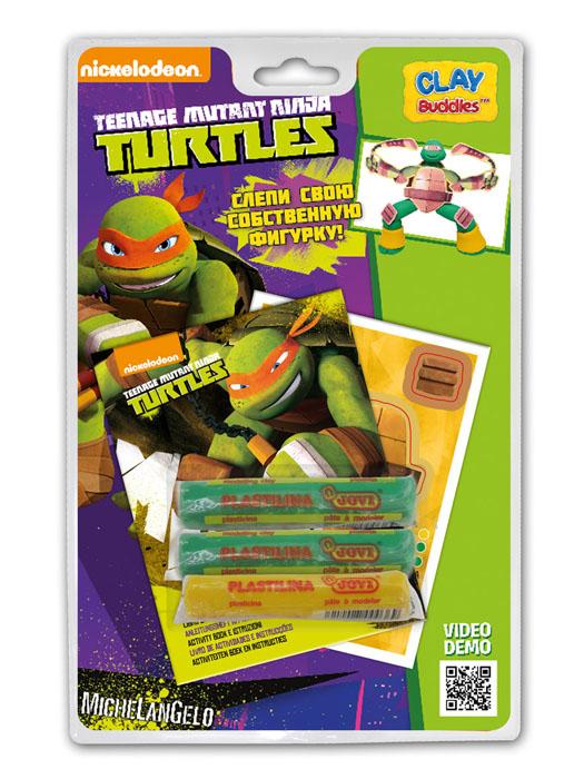 Giromax Набор для лепки Teenage Mutant Ninja Turtles. МикеланджелоG 305171Набор для лепки Giromax Teenage Mutant Ninja Turtles представляет собой сочетание моделирования и игры. Набор включает в себя: 3 плитки пластилина (зеленый, желтый), карточку с картонными деталями, 1 лист липучек, иллюстрированную книжку с инструкциями и заданиями. Входящая в набор пластилиновая масса разработана специально для детей, очень мягкая, приятно пахнет, ее не надо разминать перед лепкой. Пластилин быстро высыхает, не имеет запаха, не липнет к рукам и одежде, легко смывается. Используя пластилин и картонные формочки, малыш сможет самостоятельно вылепить фигурку любимого героя - Микеланджело. Работа с пластилином развивает мелкую моторику пальцев малыша, пространственное воображение, фантазию.