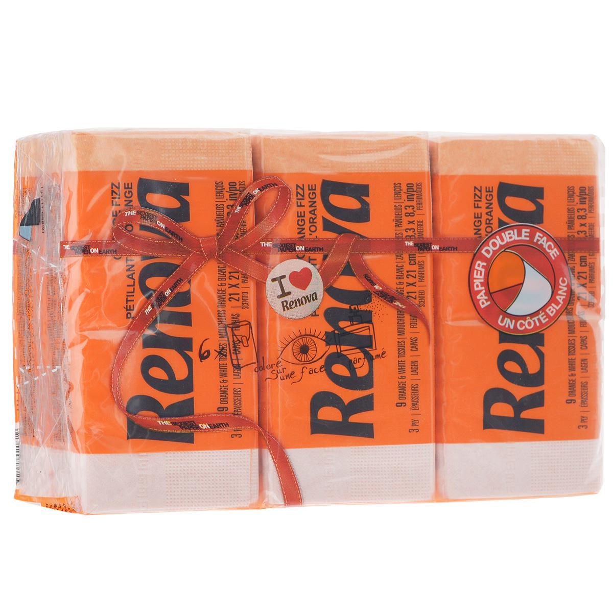 Платочки бумажные Renova Orange Fizz, ароматизированные, трехслойные, цвет: оранжевый, 6 пачекCRS-80273547Бумажные гигиенические платочки Renova Orange Fizz,изготовленные из 100% натуральной целлюлозы, подходят для детей и взрослых. Они обладают уникальными свойствами, так как всегда остаются мягкими на ощупь, прочными и отлично впитывающими влагу и могут быть пригодными в любой ситуации. Бумажные платочки RenovaOrange Fizz имеют сладкий аромат апельсина. Удобная небольшая упаковка позволяет носитьплаточки в кармане.Количество слоев: 3.Размер листа: 21 см х 21 см.Количество пачек: 6 шт.Количество платочков в каждой пачке: 9 шт.Португальская компания Renova является ведущим разработчиком новейших технологий производства, нового стиля и направления на рынке гигиенической продукции. Современный дизайн и высочайшее качество, дерматологический контроль - это то, что выделяет компанию Renova среди других производителей бумажной санитарно-гигиенической продукции.