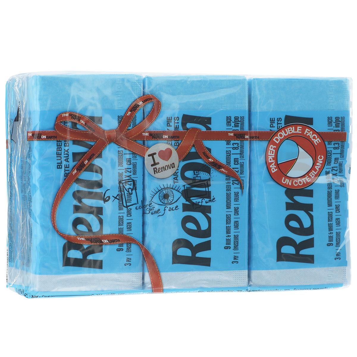 """Renova (Renova FPA) Платочки бумажные Renova """"Blueberry Pie"""", ароматизированные, трехслойные, цвет: голубой, 6 пачек 200067005"""