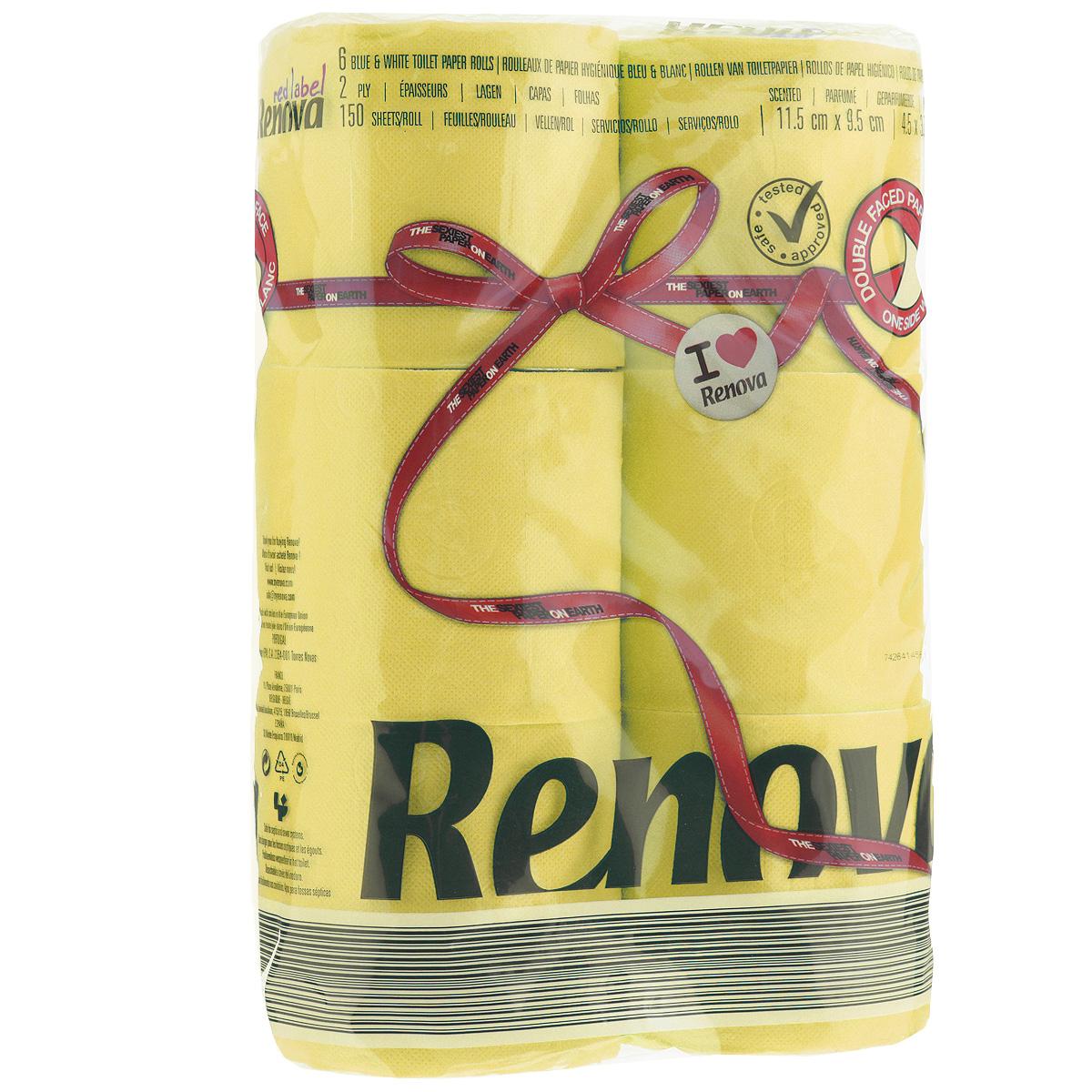 Туалетная бумага Renova, двухслойная, ароматизированная, цвет: желтый, 6 рулонов200066927Туалетная бумага Renova изготовлена по новейшей технологии из 100% ароматизированной целлюлозы, благодаря чему она имеет тонкий аромат, очень мягкая, нежная, но в тоже время прочная. Эксклюзивная двухсторонняя туалетная бумага Renova  экстрамодного цвета, придаст вашему туалету оригинальность. Состав: 100% ароматизированная целлюлоза. Количество листов: 150 шт. Количество слоев: 2. Размер листа: 11,5 см х 9,5 см. Количество рулонов: 6 шт. Португальская компания Renova является ведущим разработчиком новейших технологий производства, нового стиля и направления на рынке гигиенической продукции. Современный дизайн и высочайшее качество, дерматологический контроль - это то, что выделяет компанию Renova среди других производителей бумажной санитарно-гигиенической продукции.