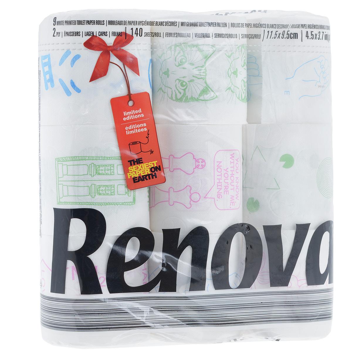 Туалетная бумага Renova Design, двухслойная, цвет: белый, 9 рулонов790009Туалетная бумага Renova Design изготовлена по новейшей технологии из 100% целлюлозы, благодаря чему она очень мягкая, нежная, но в тоже время прочная. Перфорация надежно скрепляет слои бумаги. Туалетная бумага Renova Design сочетает в себе простоту и оригинальность. На каждом листе туалетной бумаге разное цветное изображение.Состав: 100% целлюлоза. Количество листов: 140 шт.Количество слоев: 2.Размер листа: 11,5 см х 9,5 см.Количество рулонов: 9 шт.Португальская компания Renova является ведущим разработчиком новейших технологий производства, нового стиля и направления на рынке гигиенической продукции. Современный дизайн и высочайшее качество, дерматологический контроль - это то, что выделяет компанию Renova среди других производителей бумажной санитарно-гигиенической продукции.