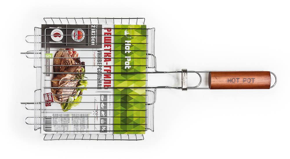 Решетка-гриль Hot Pot, универсальная, 25 х 25 х 4 см61338Решетка-гриль Hot Pot предназначена для приготовления пищи на открытом воздухе. Изготовлена из высококачественной стали с пищевым хромированным покрытием. Решетка имеет деревянную вставку на ручке, предохраняющую руки от ожогов и позволяющую без труда перевернуть решетку. Надежное кольцо-фиксатор гарантирует, что решетка не откроется, и продукты не выпадут. Приготовление вкусных блюд из рыбы, мяса или птицы на пикнике становится еще более быстрым и удобным с использованием решетки-гриль. Размер рабочей поверхности: 25 см х 25 см х 4 см. Длина ручки: 20 см.
