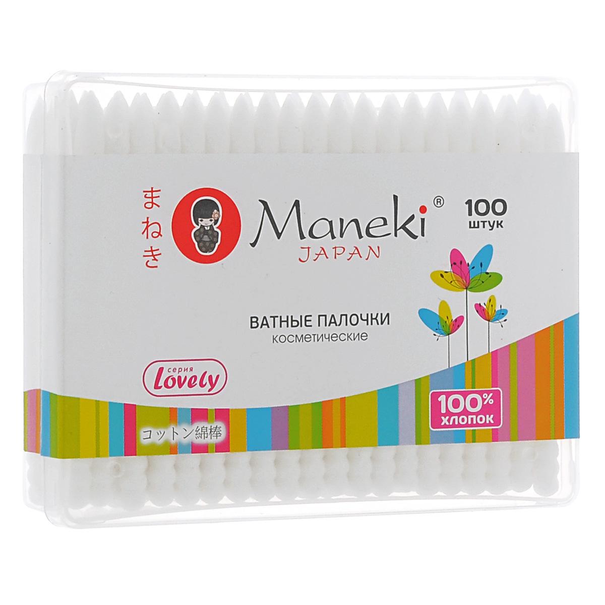 Maneki Палочки ватные косметические Lovely, с белым пластиковым стиком, 100 шт.CB1125Палочки ватные гигиенические в пластиковой коробочке с надежной фиксацией аппликатора. Идеально подходят для гигиенических и косметических целей. У палочек два аппликатора: спиралевидный и заостренный. Оригинальный дизайн упаковки, в упаковке 100 палочек из 100% хлопка. Упаковка с zip-замком.