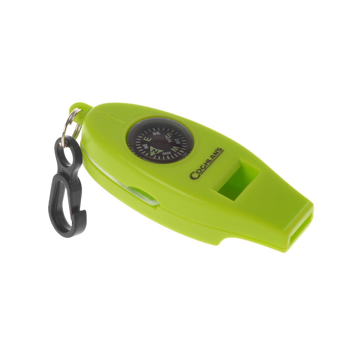 Свисток Coghlans, с четырьмя функциями, цвет: зеленый0045gУдобный и эффективный в чрезвычайных ситуациях гаджет Coghlans с 4-мя функциями - свисток, термометр, компас и увеличительное стекло для чтения карт. Возьмите с собой в лес, когда пойдете за грибами! Ударопрочный корпус, оснащен надежным карабином для крепления.