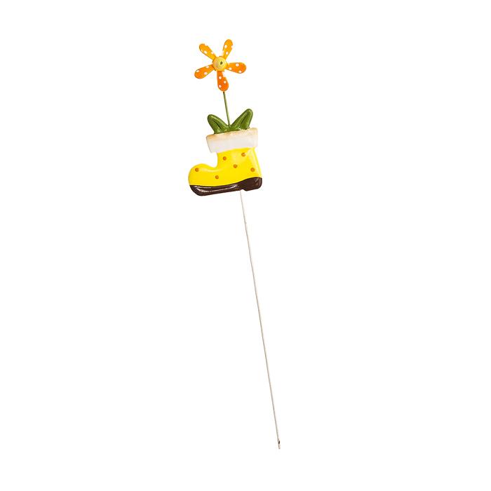 Украшение на ножке Village People Веселая клумба, цвет: желтый, высота 29 см19201Украшение на ножке Village People Веселая клумба поможет вам дополнить экстерьер красивой и яркой деталью. Такое украшение очень просто вставляется в землю с помощью длинной ножки, оно отлично переносит любые погодные условия и прослужит долгое время. Идеально подходит для декорирования садового участка, грядок, клумб, домашних цветов в горшках, а также для поддержки и правильного роста декоративных растений.Размер: 5 см х 11 см. Высота: 29 см.