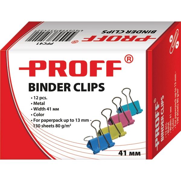 Зажимы для бумаг Proff, 41 мм, 12 штPFC41Металлические зажимы для бумаг Proff предназначены для временного скрепления листов, размером до 13 мм (130 листов, плотностью 80г/м2) стандартной бумаги. Зажимы для бумаг не мнут документы, не оставляют следов, имеют удобные ушки. Зажимы выполнены из высококачественной стали. С набором зажимов для бумаг Proff ваш рабочий стол всегда будет в порядке.