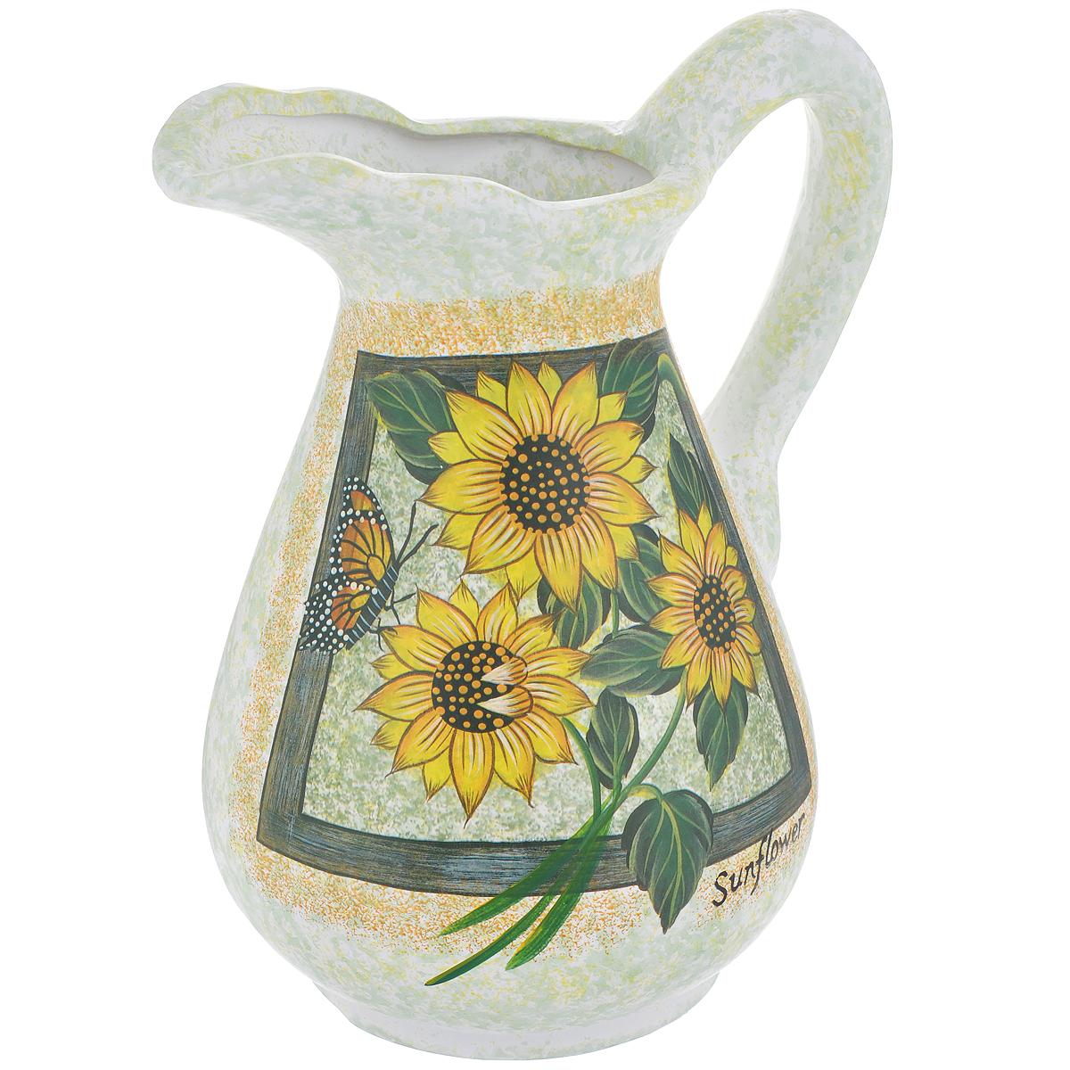 Ваза Lillo Солнечные цветы, высота 25 смLil 3052Элегантная ваза Lillo Солнечные цветы выполнена из высококачественной керамики в виде кувшина и декорирована рисунком. Она придется по вкусу и ценителям классики, и тем, кто предпочитает утонченность и изящность. Вы можете поставить вазу в любом месте, где она будет удачно смотреться и радовать глаз. Такая ваза подойдет и для цветов, и для декора интерьера. Кроме того - это отличный вариант подарка для ваших близких и друзей. Высота вазы: 25 см. Диаметр основания: 11,5 см.
