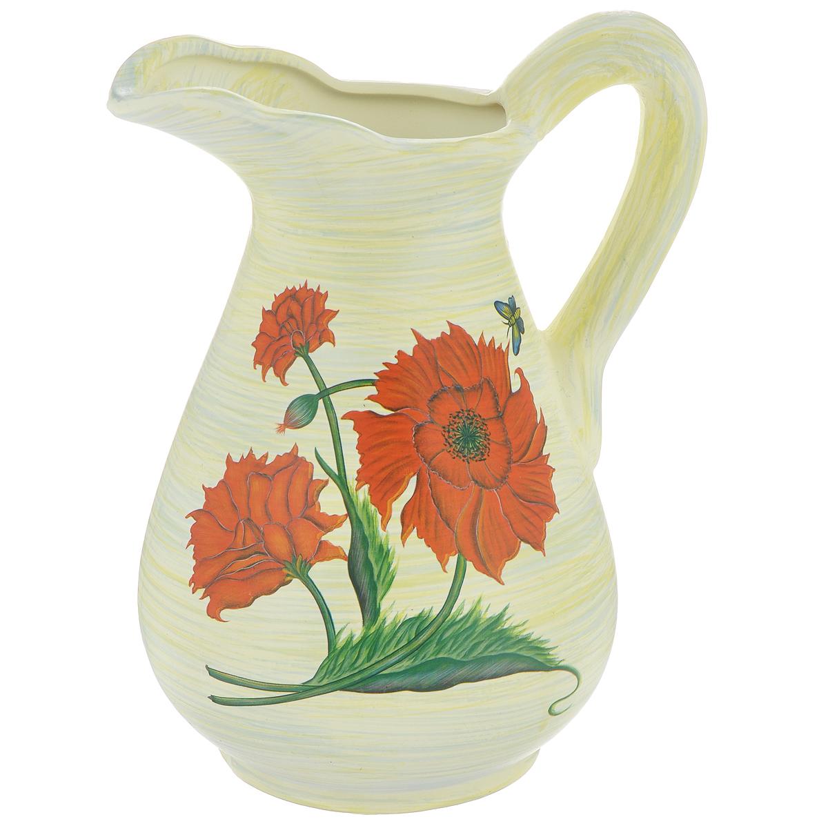Ваза Lillo Красные цветы, высота 25 смLIL 3187Элегантная ваза Lillo Красные цветы выполнена из высококачественной керамики в виде кувшина и декорирована рисунком. Она придется по вкусу и ценителям классики, и тем, кто предпочитает утонченность и изящность. Вы можете поставить вазу в любом месте, где она будет удачно смотреться и радовать глаз. Такая ваза подойдет и для цветов, и для декора интерьера. Кроме того - это отличный вариант подарка для ваших близких и друзей. Высота вазы: 25 см. Диаметр основания: 11,5 см.
