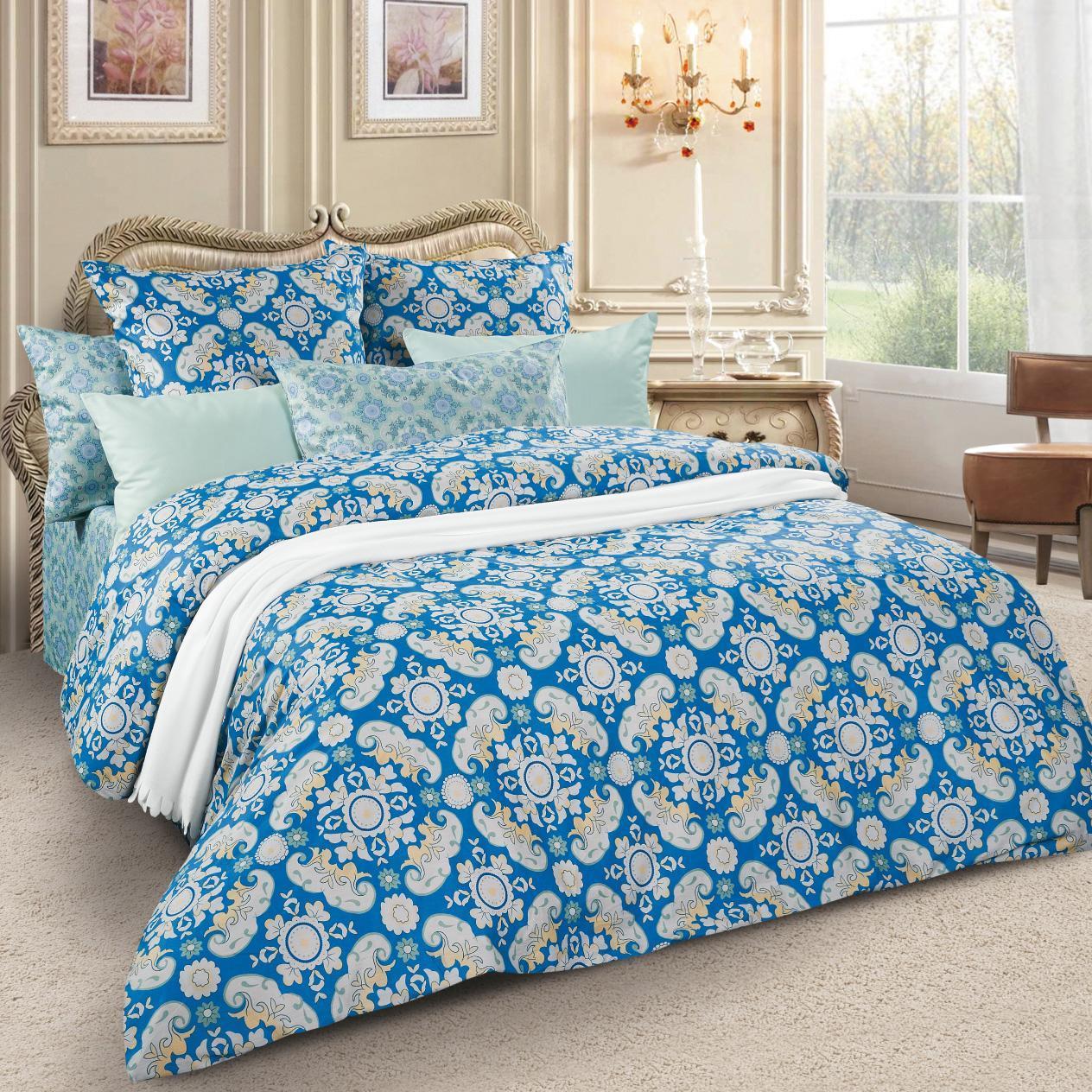 Комплект белья Letto, 1,5-спальный, наволочки 70х70, цвет: синий. sm59-3 комплект белья letto дуэт семейный наволочки 70х70 цвет голубой b33 7