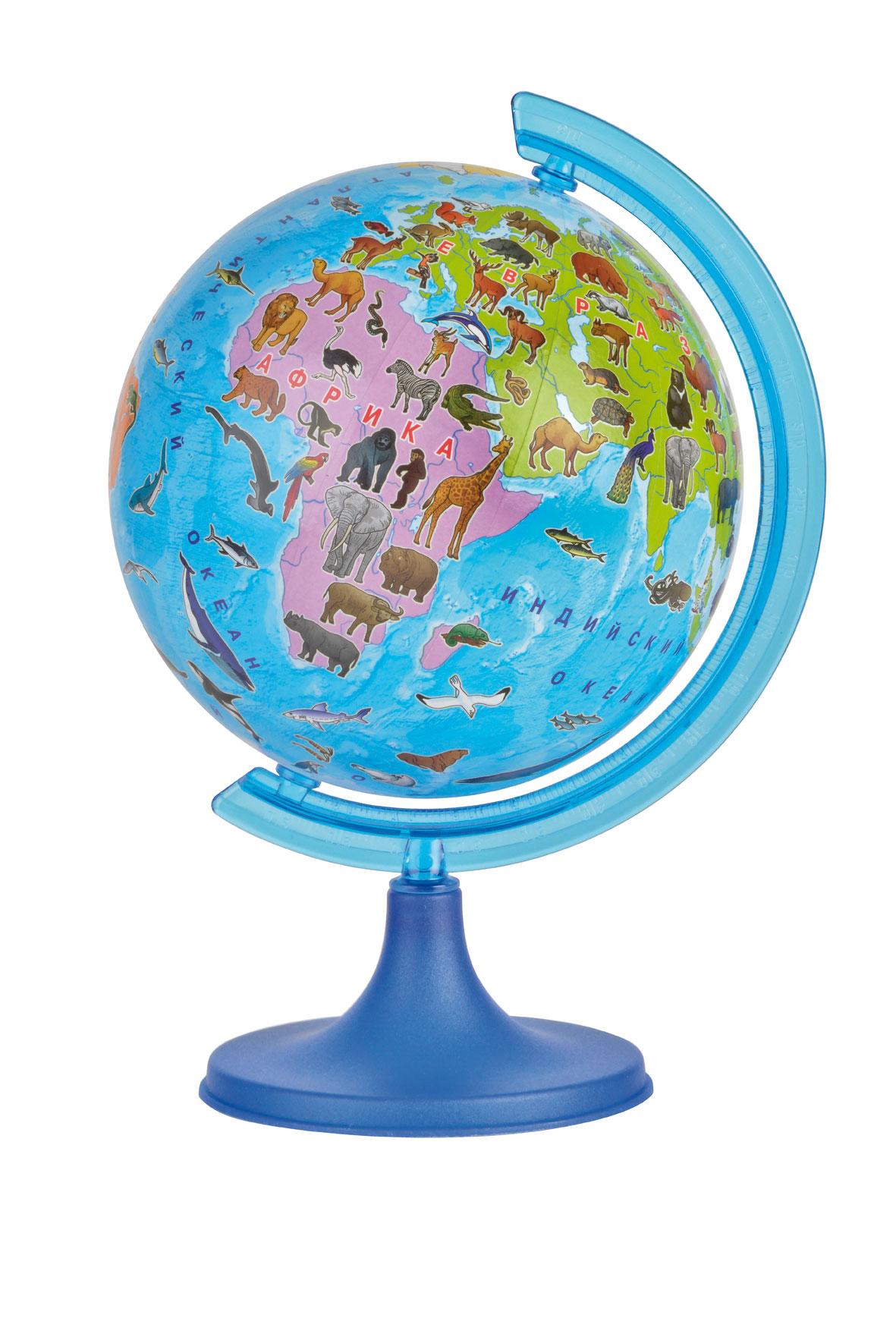 Глобус DMB Сафари, диаметр 16 см + Мини-энциклопедия Животный Мир ЗемлиОСН1224098Глобус DMB Сафари изготовлен из высококачественного прочного пластика в оригинальной, яркой цветной гамме, где все материки и океаны выполнены в ярких контрастных красках, что привлечет внимание и интерес ребенка. На глобусе отображены самые известные животные, наиболее характерные для той или иной среды обитания. Изделие расположено на подставке. Географические названия на глобусе приведены на русском языке. Сделайте первый шаг в стимулирование своего обучения! К глобусу прилагается мини-энциклопедия Животный Мир Земли, которая обязательно поможет детям и их родителям открыть для себя что-то новое в изучении животного мира нашей удивительной планеты. Настольный глобус DMB Сафари станет оригинальным украшением рабочего стола или вашего кабинета. Это изысканная вещь для стильного интерьера, которая станет прекрасным подарком для современного преуспевающего человека, следующего последним тенденциям моды и стремящегося к элегантности и комфорту в...