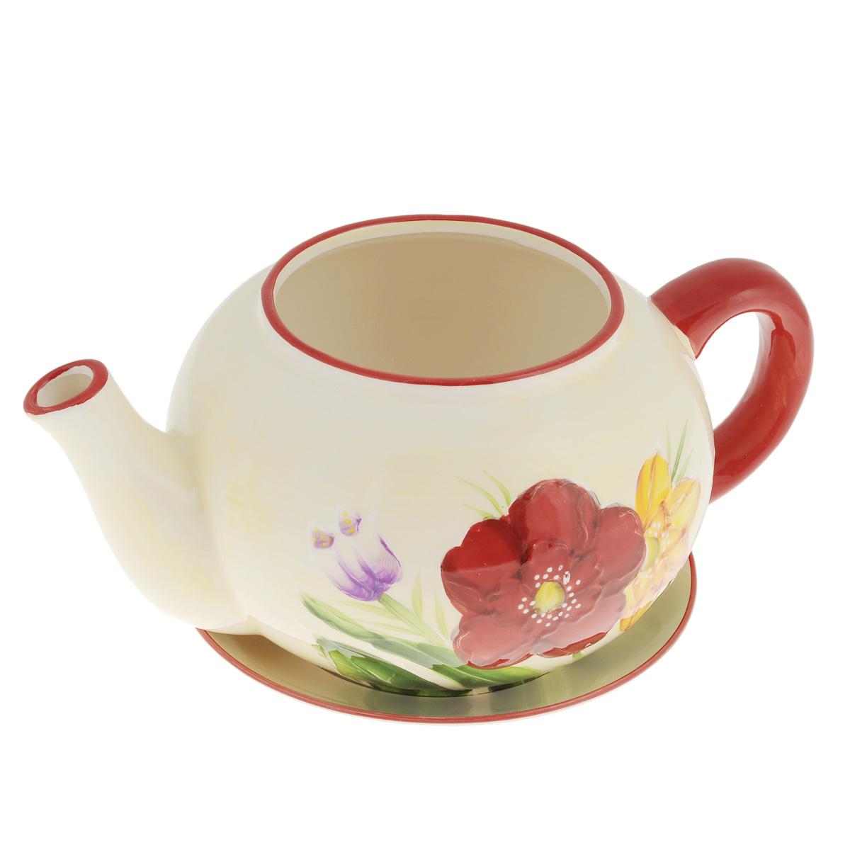 Кашпо Lillo Заварочный чайник, с поддоном. XY10S015-1EKOC_SOL249_G4Кашпо-горшок для цветов Lillo Заварочный чайник выполнен из прочной керамики и декорирован красочным рисунком. Изделие предназначено для цветов.Такие изделия часто становятся последним штрихом, который совершенно изменяет интерьер помещения или ландшафтный дизайн сада. Благодаря такому кашпо вы сможете украсить вашу комнату, офис, сад и другие места. Изделие оснащено специальным поддоном - блюдцем.Диаметр кашпо по верхнему краю: 12 см.Высота кашпо (без учета поддона): 14 см.Диаметр поддона: 20,5 см.