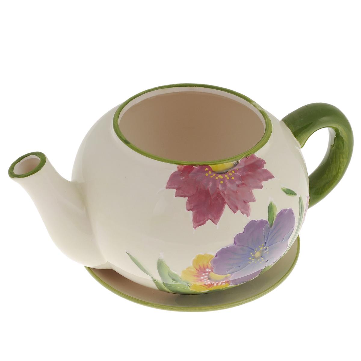 Кашпо Lillo Заварочный чайник, с поддоном. XY10S015-1AKOC_SOL249_G4Кашпо-горшок для цветов Lillo Заварочный чайник выполнен из прочной керамики и декорирован красочным рисунком. Изделие предназначено для цветов.Такие изделия часто становятся последним штрихом, который совершенно изменяет интерьер помещения или ландшафтный дизайн сада. Благодаря такому кашпо вы сможете украсить вашу комнату, офис, сад и другие места. Изделие оснащено специальным поддоном - блюдцем.Диаметр кашпо по верхнему краю: 12 см.Высота кашпо (без учета поддона): 14 см.Диаметр поддона: 20,5 см.